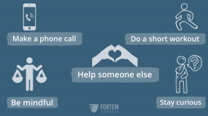visual of five practical ways to do self care